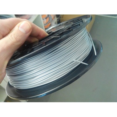 Катушка пластика FlexPolyEster 45D серебристый 1.75 мм 0,5 кг.